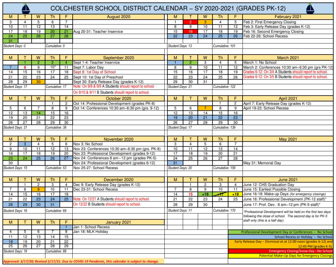 Vt Calendar 2022.District Calendars